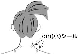 貼るヤセシールの使い方応用パターン(2)首の周りや付け根のぐりぐりしたあたり、またはリンパ腺の上に貼ってみましょう。